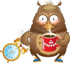 Early morning time funny owl with cup of coffee and alarm clock in its hands Stock Vector