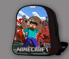 Minecraft Backpack, Minecraft Sword, Salmon Color, Kids Bags, Kids Backpacks, School Bags, Red And White, Kids Outfits, Sky