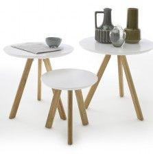 Winifred set of 3 coffee tables in white with oak legs, will bring an elegance and style to any home decor - 30740 wooden coffee tables with storage & drawers, modern & contemporary. 3 Coffee Tables, Coffee Table Rectangle, Round Table Top, Coffee Table With Storage, Round Top, Coffee Coffee, Furniture Catalog, Light Oak, Wood Species