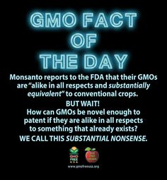 Smart Health Talk Pick: GMO Fact of the Day. After spending countless hours reading about how we got to where we are now with GMOs it became clear there was a critical moment in history when the decision was made that GMOs WERE THE SAME AS NON GMO PLANTS. How you change DNA so that plant manufacturers a little something extra A TOXIC POISON THAT TARGETS BRAIN AND NERVE CELLS TO DESTROY THEM and it's the same? Let's use our common sense and STOP THE MADNESS BY KEEPING GMOs OUT OF FOOD!
