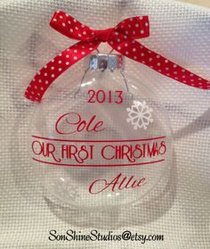 Couple First Christmas Ornament by sonshinestudios on Etsy, $15.00
