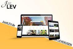Webdesign, Social Media und Gestaltung der Drucksachen für JustLEV  Upper Website durfte die Umsetzung des neuen Leverkusener Onlineportals übernehmen. Web Design, Flyer, Seo, Decals, Weaving, Website Designs, Site Design