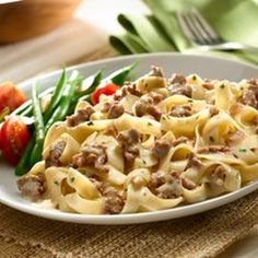 Skillet Beef Stroganoff Recipe Main Dishes with ground beef, onions, garlic, water, milk, I Can't Believe It's Not Butter!® Spread, knorr pasta side stroganoff