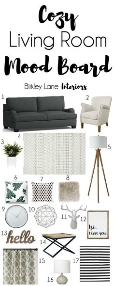 Looking for some new living room ideas? Click here and get inspired with this cozy living room mood board! Shopping list included! Neutral living room, grey living room, living room mood board, living room decor, living room ideas, living room, living room decor on a budget, living room mood board cozy, rustic living room , rustic mood board #interiordecorating