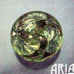 CZECH GLASS BUTTON: 28mm Handpainted Nouveau by AriaDesignStudio