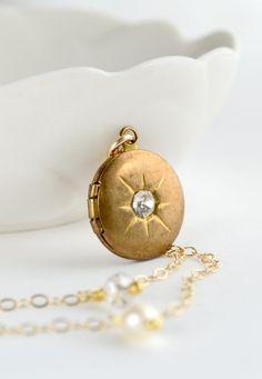 Tiny gold locket necklace, star locket, clear stone necklace, bridesmaid necklace, bridal jewelry, pearl necklace - Hokulani Clear