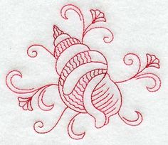 Redwork Seashell  5 (Variegated Thread)