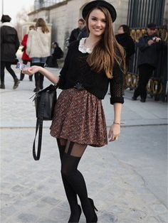 the tights, muted colors, and sweater really make this outfit feel fall like.