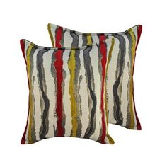 Sherry Kline Waves Yellow Red 20-inch Throw Pillows (Set of 2) / $59.99 at Overstock.com