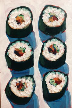 Sushi Love Sari Shryack is an Austin-based painter focused on color and light in the ever-changing neighborhoods of her community Food Painting, Painting & Drawing, Paintings Of Food, Aesthetic Painting, Aesthetic Art, Pretty Art, Cute Art, Food Illustrations, Illustration Art