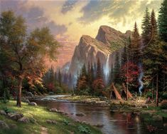 """This is a Thomas Kinkade painting entitled """"The Mountains Declare His Glory"""". Thomas Kinkade died A. Kinkade Paintings, Art Paintings, Painting Prints, Art Print, Pretty Pictures, Art Pictures, Art Images, Bing Images, Landscape Art"""
