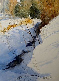"""Winter Afternoon"" by Sandy Strohschein Watercolor ~ 22 x 15"