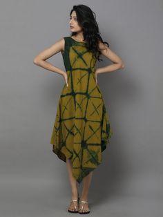 Green Cotton Bias Dress