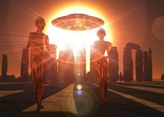 Stonehenge depicted as an earth energy storage center where alien interdimensional beings recharge their vehicles Poster Print Star Family, Aliens And Ufos, First Contact, Stonehenge, Science And Nature, Holographic, Light Bulb, Canvas Art, World