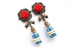 "PAIR Alice In Wonderland Red Rose Drink Me Blue Glitter Vial Ear Plugs / Gauges 14mm (9/16""), 16mm (5/8""), 18mm (11/16"") & 20mm"