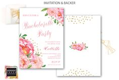 Bachelorette Party Invitation // White Background // Peonies // Peony// Bridal // Pink // Gold Glitter // BORDEAUX COLLECTION by MerrimentPress on Etsy https://www.etsy.com/listing/295373989/bachelorette-party-invitation-white