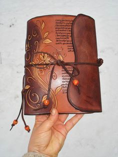 Leather Journal Hand Tooled and Hand Written