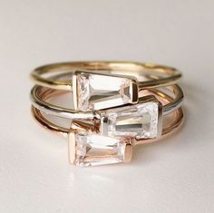 Caron Ring tapered sapphire rose gold ring by Vale Jewelry