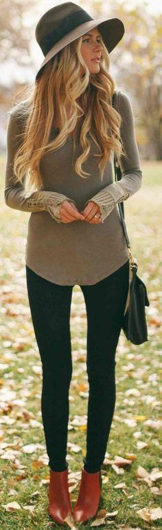 #fall #outfits #popular |  De oliva + Negro Estilo Campo Moderno