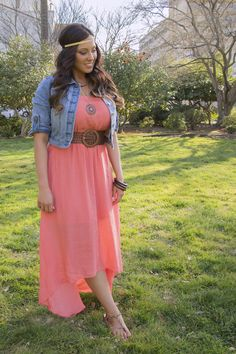 love the dress, and the belt (don't care for the denim jacket, or headband) -- Bohemian Inspired Style(cute minus the headband)