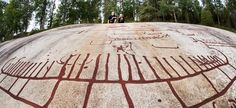 The rock carvings at Vitlycke are among the best known in Sweden, and attract hundreds of thousands of visitors from all over the world every year. Stepping Stones, Gazebo, Carving, Outdoor Structures, Outdoor Decor, Sweden, Kiosk, Wood Carvings, Sculpting
