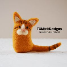 Needle Felting Kitty Kit, wool DIY complete fiber kit for beginners and intermediates
