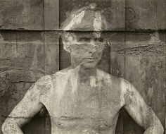 Max Ernst, photographed by  Frederick Sommer, 1946, Gelatin silver print. This image of Surrealist painter Max Ernst posed against a weathered wooden wall has been overprinted with a negative of a rough, water-worn rock surface. This artwork is part of Faking It: Manipulated Photography Before Photoshop.