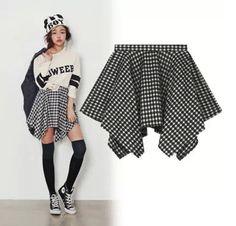 {Free Ship} 2014 Korea Anomal Grating Short Skirt $28.88 Color: Green /Red /Black One size: Skirt Length 34--36 cm, Waist 60--72 cm
