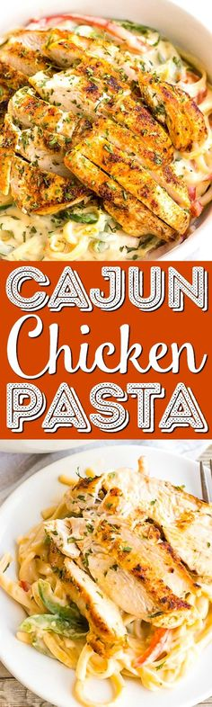 This creamy Cajun Chicken Pasta is a flavorful dinner thats. This creamy Cajun Chicken Pasta is a flavorful dinner thats great for busy weeknights! Easy to make and oh so tasty this dinner is a definite keeper! via Rebecca Hubbell / Sugar & Soul Best Pasta Recipes, Cajun Recipes, Italian Recipes, Chicken Recipes, Dinner Recipes, Cooking Recipes, Chicken Meals, Delicious Recipes, Dinner Ideas