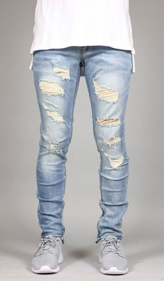 FIT : SLIM TAPERED LEG If you are looking for a looser fit we suggest one size up - Stretch denim for increased wearability - Destroyed details and ripped knee YKK Zipper on side ankles - Five pocket Denim Jeans Men, Casual Jeans, Jeans Pants, Best Ripped Jeans, Skinny Jeans, Urban Fashion, Mens Fashion, Fashion Edgy, Stylish Clothes