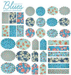 Free vintage fabric deco shapes downloads.
