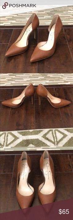 """Jessica Simpson Claudette Heels Jessica Simpson Claudette Heels. 4"""" Heels In """"Burnt Umber"""" color. Only worn indoors once. Minor scuffs on side, but I believe they can be taken out. Jessica Simpson Shoes Heels"""