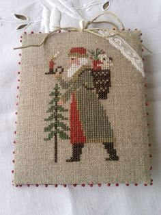 Prairie Schooler Santa - I love the soft colors Cross Stitch Christmas Ornaments, Christmas Embroidery, Christmas Cross, Father Christmas, Christmas Ideas, Cross Stitch Designs, Cross Stitch Patterns, Cross Stitching, Cross Stitch Embroidery