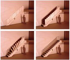 """Foldable Staircase This originality was thought not only as a foldable staircase but as a 'redefined door'. According to its creator, industrial designer Aaron Tang, it is """"an element of a wall that allowed passageway to another environment when opened and restricted passageway when closed"""". Using just hinges and pistons, the staircase can fold up a wall to expand space on the lower level or restrict access to the upper level. It was designed to be closed or opened from upstairs and…"""