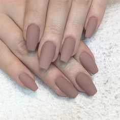 55 Best Simple Matte Nail Polish Designs to Copy ASAP matte polishes turn any basic manicure into a legit beauty lewk, soft, hazy, and definitively understated Coffin Nails Matte, Matte Nail Polish, Gel Nails, Coffin Acrylics, Acrylic Nails Nude, Dark Nude Nails, Acrylic Nails Coffin Short, Best Nail Polish, Gel Polish