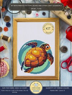 It is a cross-stitch KIT for Turtle. If you need the pdf pattern only, it is available here: https://www.etsy.com/listing/512350696/turtle-cross-stitch-pattern-for-instant?ga_search_query=turtle&ref=shop_items_search_3 KIT #1 INCLUDES: ⇒ A4 format (210 x 297 mm - 8.3 x 11.7 in)