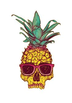 Skull from pineapple with sunglasses drawing art Hipster Kunst, Hipster Art, Pineapple Tattoo, Pineapple Art, Pineapple Design, Pineapple Drawing, Pineapple Pattern, Pineapple Sketch, Graffiti