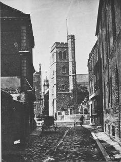 VINTAGE LONDON: A cobbled lane close to Lambeth Palace, c.1860