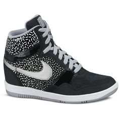 Nike High Top Sneakers - Women's Nike Force Sky High Print ($90) ❤ liked on Polyvore featuring shoes, sneakers, nike, lace up shoes, nike high tops, leather high tops and nike trainers