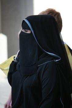 Elegant Niqabi with Blue Trimmed Shayla