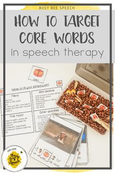 Tried and true ways on how to target core word vocabulary in speech therapy. Implementing this research-based practice can be a little overwhelming. Here are some great ideas to get you started on targeting those core words. Vocabulary Activities, Speech Therapy Activities, Articulation Activities, Language Activities, Speech Language Pathology, Speech And Language, Concrete Nouns, Love Speech, Play Therapy Techniques