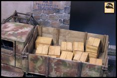 1/35 scale model with laser cut wine crates Wine Crates, Scale Models, Diorama, Tanks, Studios, Wood, Crafts, Wine Boxes, Manualidades