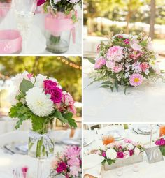 Flower arrangements in pinks and whites, photography by Jennifer Eileen, flowers by Fleurie