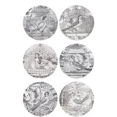 Fornasetti Aprie Gentili Plate Set ($798) ❤ liked on Polyvore featuring home, kitchen & dining, dinnerware, filler, grey, gray dinnerware, black and white china, grey dinnerware, black and white dinnerware and black white dinnerware