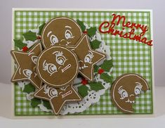 Lois' card using Nested Ornaments: Ball and Star, Winterland Holly and Merry Christmas dies + Peachy Keen Face Stamps