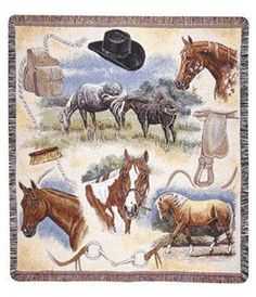 Western Flavor Tapestry Throw Blanket - Visit our website at www.crystalcreekdecor.com for more sizes and selections plus other Cabin/Lodge Décor ideas at great prices!  Also be sure to join our mailing list for upcoming offers, new products and special package deals.