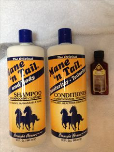 For the girls out there who are desperately trying to gro their hair long but it's taking forever or it just stops at one length... this is by far the BEST hair routine for FAST hair growth! And for those two big bottles I paid 8 dollars! :)