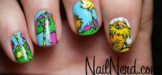Nail art inspired by Dr. Seuss' The Lorax Dr Seuss Lorax, The Lorax, Dr Suess, Crazy Nails, Funky Nails, Nail Polish Designs, Cute Nail Designs, Simple Designs, Great Nails