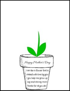 """Print off this free Mother's Day Flower Pot Poem PDF and have your little ones stamp their handprints to make flowers! It says """"I am like a flower that is raised with love by you. You help me grow up big and strong, mom. Mothers Day Flower Pot, Mothers Day Crafts For Kids, Fathers Day Crafts, Mothers Day Cards, Happy Mothers Day, Mothers Day Poems Preschool, Poems For Mothers Day, Mothers Day Saying, Mothers Day Plants"""
