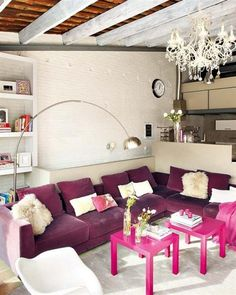 Purple Contemporary and Modern Interior Design with Vintage Style